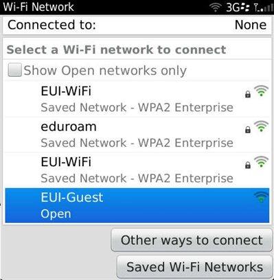EUI-Guest Configuration for BlackBerry • European University