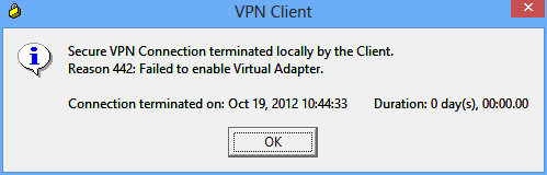 VPN Client: Failed to Enable Virtual Adapter • European