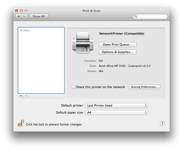 Mapping Network Printer in Mac OS X • European University