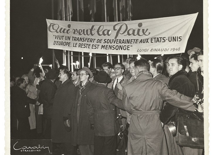 Demonstration at the Franco-German border in Wissembourg on 20 August 1950. HAEU, GR 3-1
