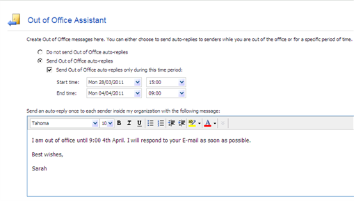 How to set up out of office message european university institute