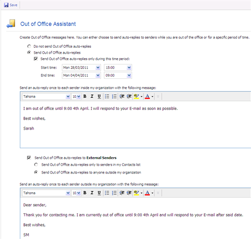 Enabling out of office assistant auto replies european university