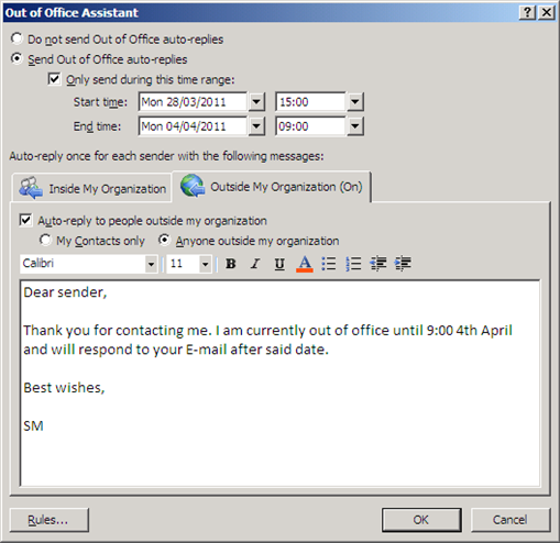 Enabling Out of Office Assistant Auto-Replies • European ...